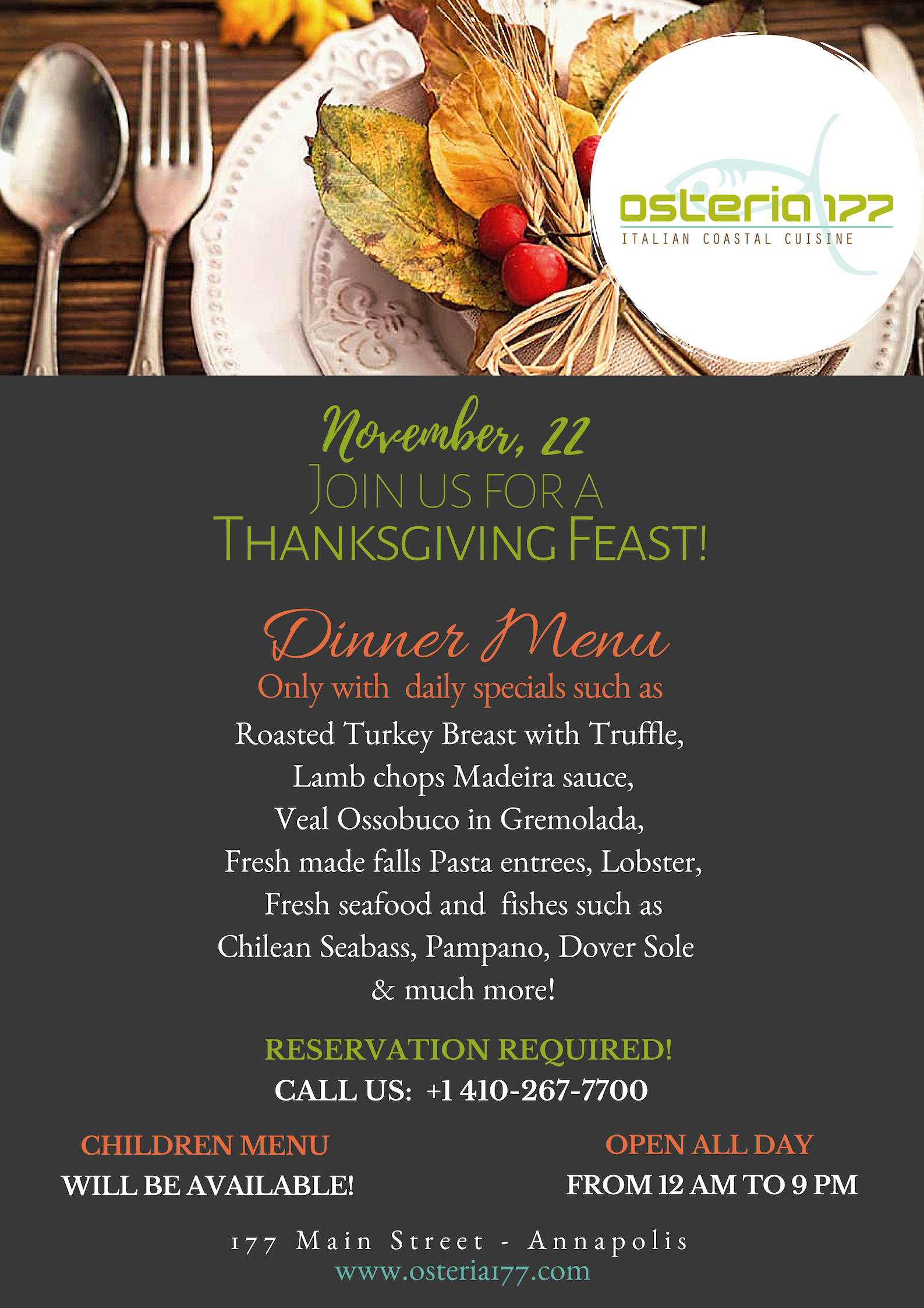 Thanksgiving Day 2018 Osteria 177